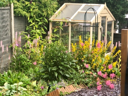 The lovely greenhouse from Waltons, Framed by bright blooms
